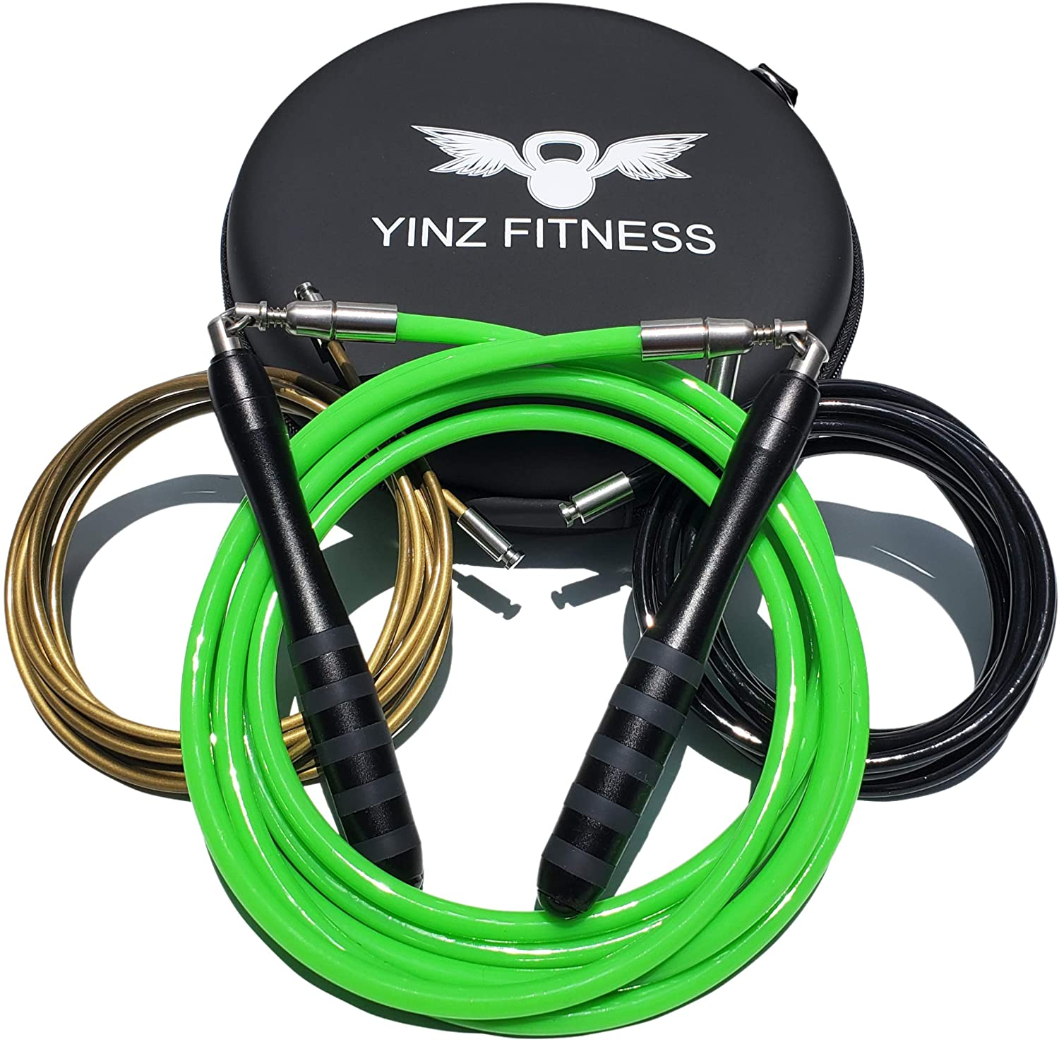 Yinz Fitness Rope - Weighted Jump Rope Set with 3 Interchangeable Cables, Professional Handles and Premium Carrying Case, Get Fit and Get Lean in 2020 with This Home Workout Bundle