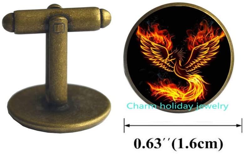 Phoenix Cufflinks,Gift for Her, Phoenix Jewelry,Custom Photo Jewelry,Glass Cabochon-#335