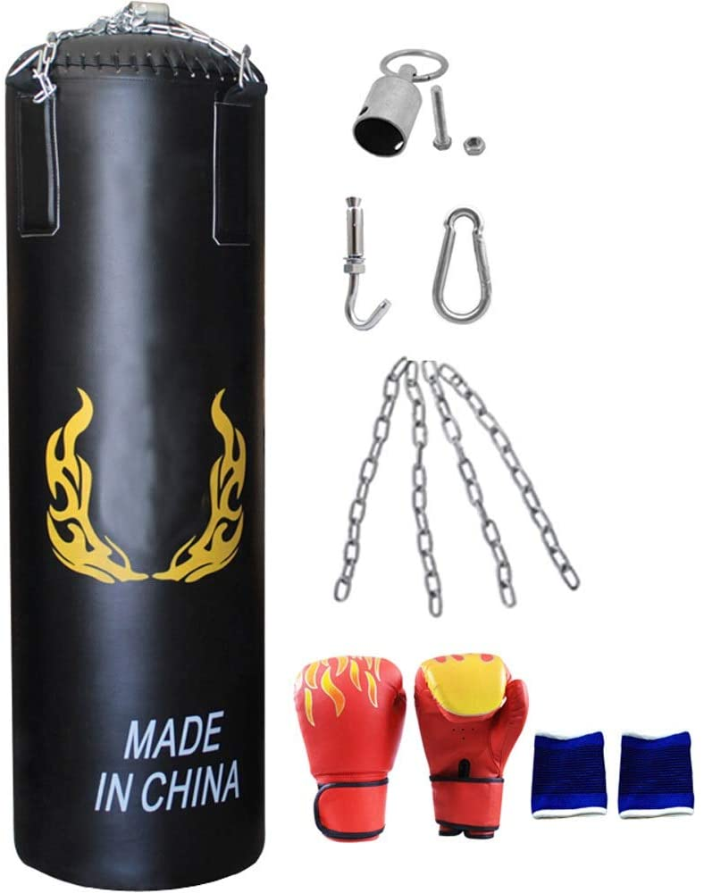PUEEPDEE Punching Bag Punch Bag for Boxing Training Hanging Heavy Bag Set with Punching Gloves Chain Wall Bracket Punching Bag with Stand (Color : Black, Size : 140cm)