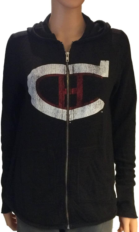 Retro Montreal Canadiens Brand Women Black Quad Blend Zip Up Hoodie Jacket (M)