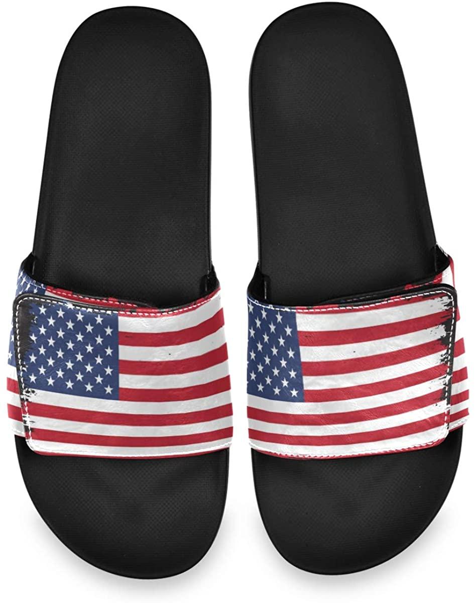 Torn US Flag Mens Summer Sandals Slide House Adjustable Slippers Non Slip Boys