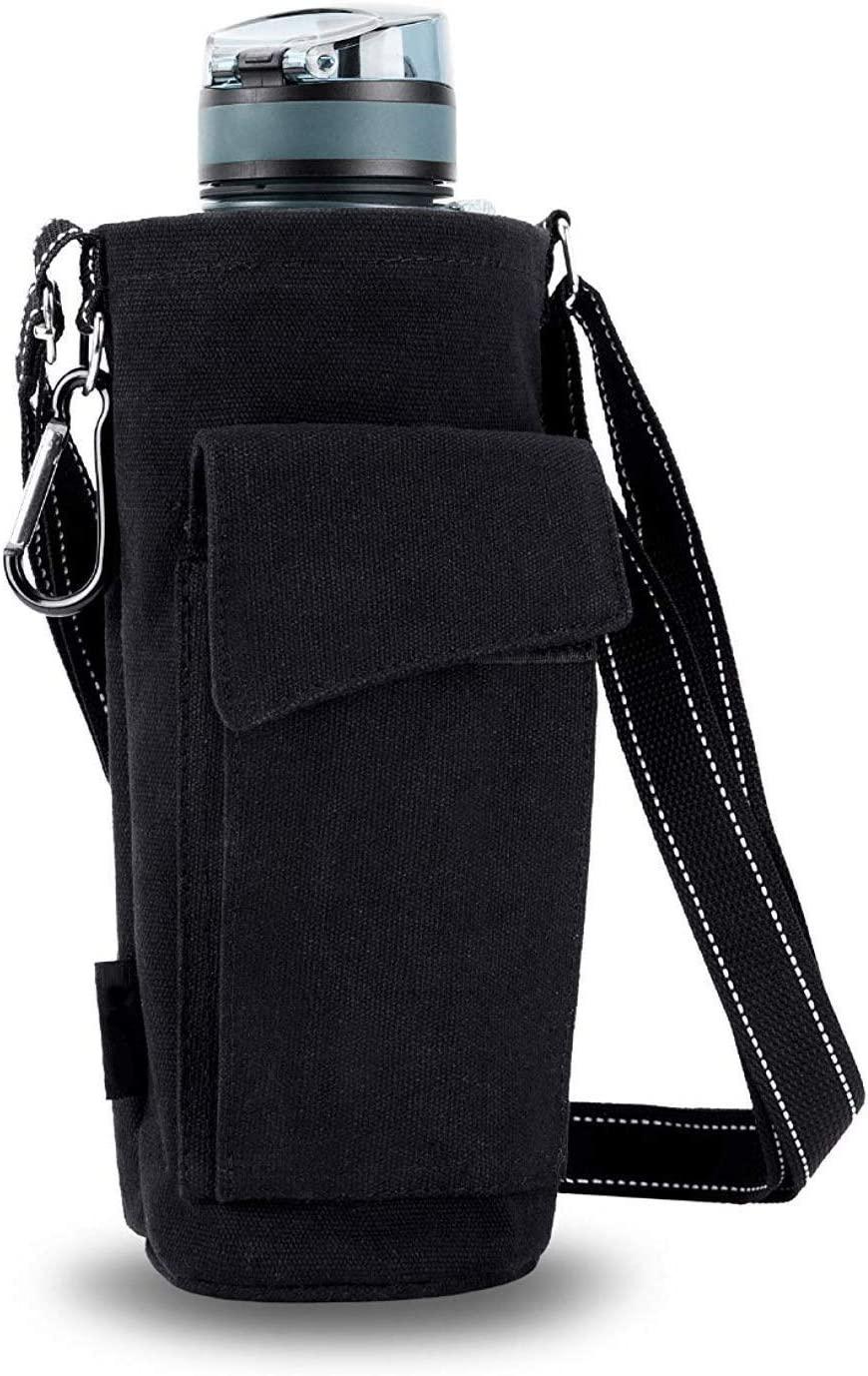 POPRUN Water Bottle Holder for Walking, 50oz Water Bottle Carrier Pouch Bag with Adjustable Shoulder/Hand Strap 2 Pockets for Biking/Hiking/Travel/Camping, Black