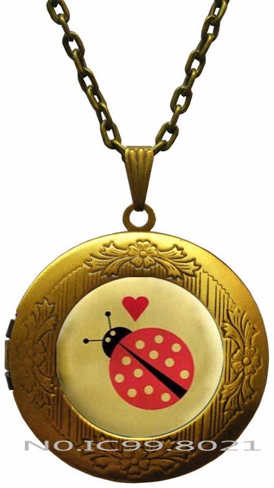maoqunza Ladybug Art Pendant, Ladybug Locket Necklace, Ladybug Locket Necklace, Gift Ideas, Pendant, Locket Necklace Jewelry -RG182
