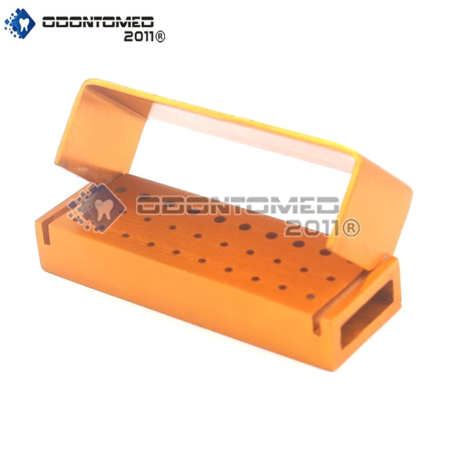 ODONTOMED2011 Dental BUR Holder Block, New FG Drills Aluminium Autoclave Disinfection BURS Holder Block CASE Organizer, 30 Holes Gold Color DN-2083