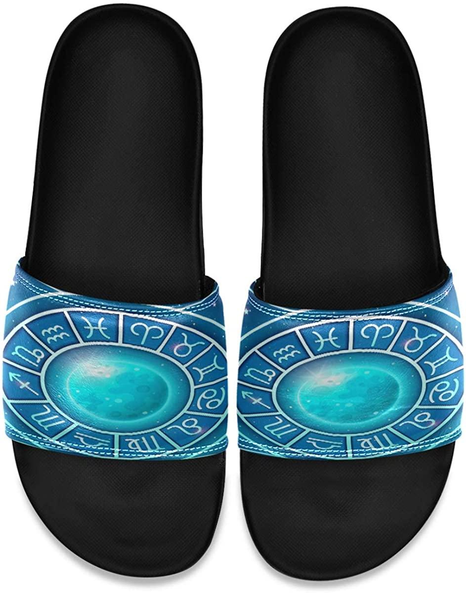 Marvellous Zodiac Wheel Blue Mens Leather Slide Sandals Summer House Slippers Non Skid Boys