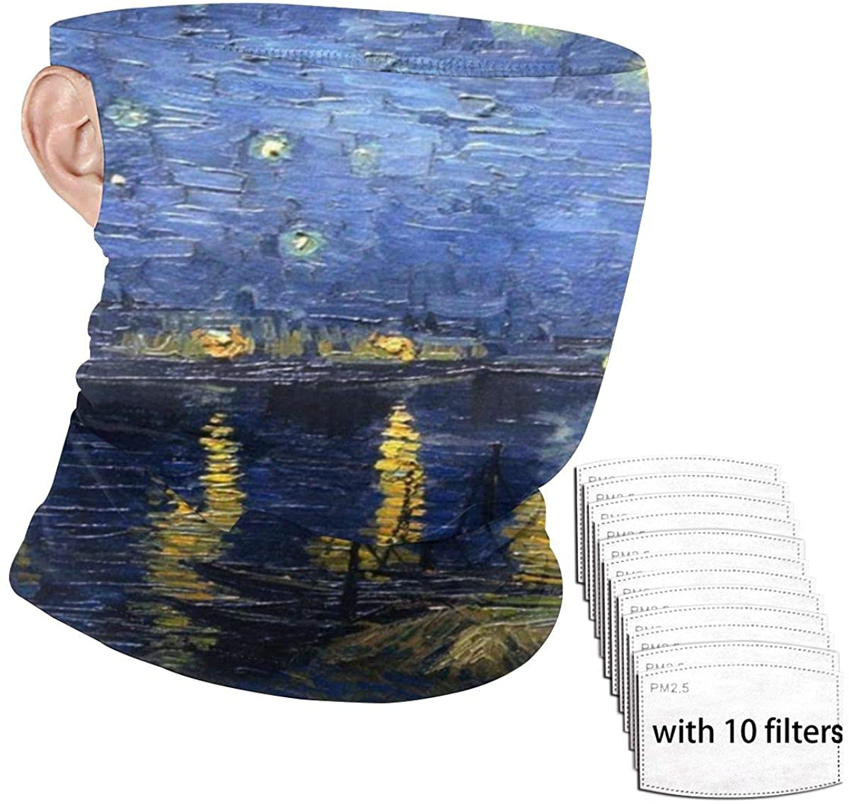 SLHFPX Starry Night Over The Rhone Vincent Van Gogh Face Mask Bandanas for Men Women Ear Loop Neck Gaiter Headwear Tube UV Dust Protection Headband Face Cover for Sports, Outdoors