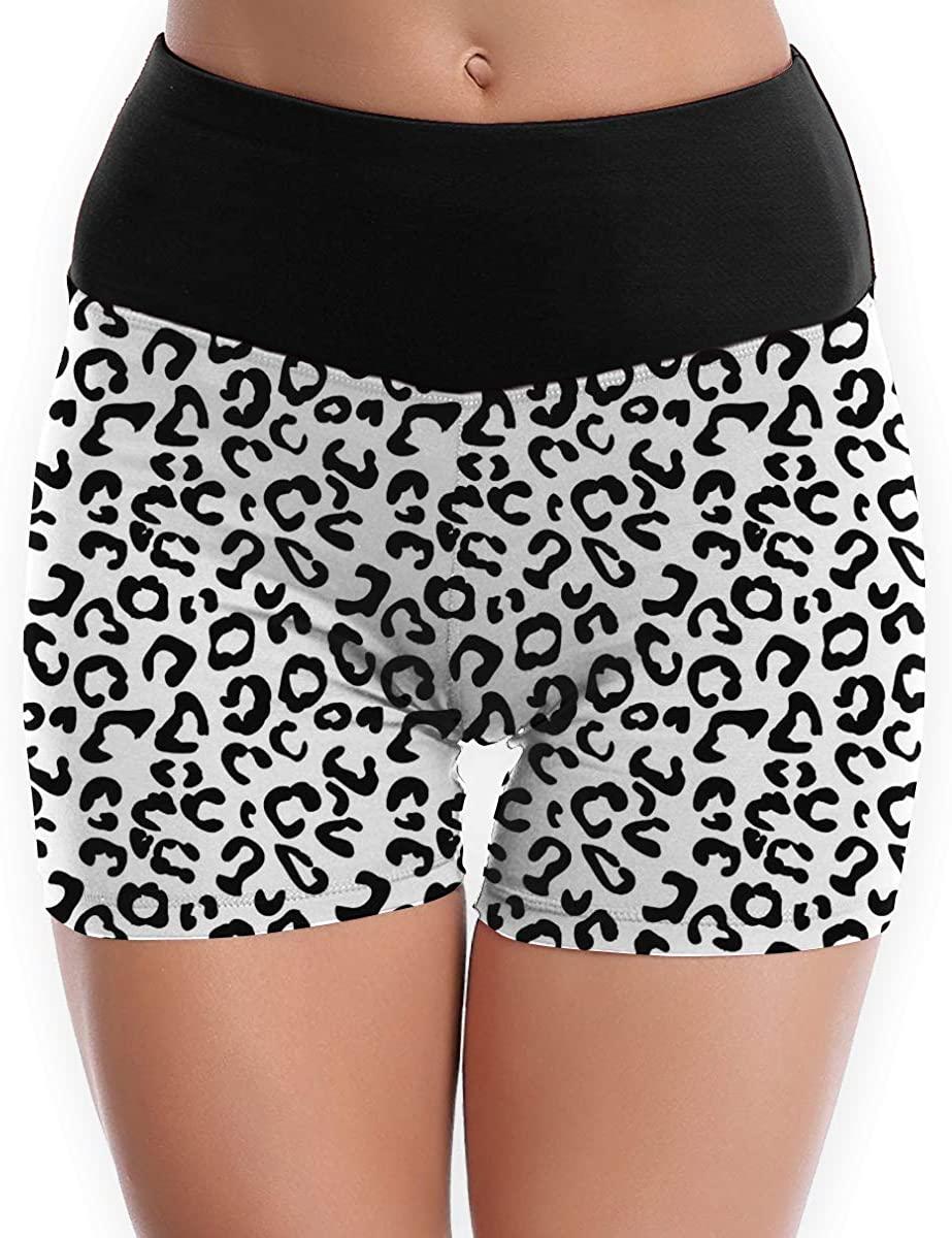 CHEERPEACETIME Women Yoga Shorts Pants White Black Leopard High Waist Workout Running Leggings
