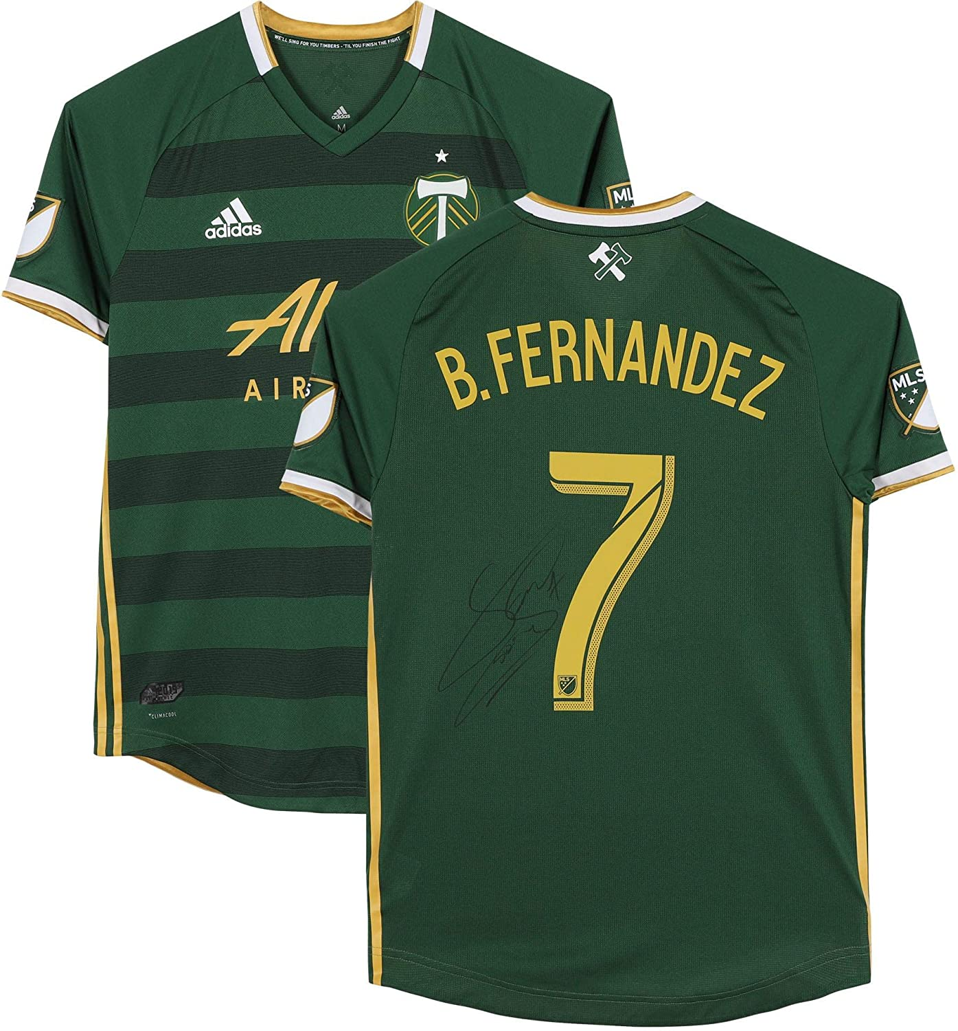 Brian Fernandez Portland Timbers Autographed Match-Used #7 Green Jersey from the 2019 MLS Season - Fanatics Authentic Certified