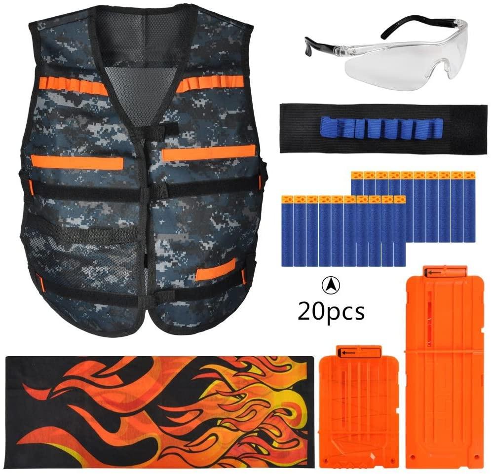 Kids Tactical Vest Kit,for Nerf Gun N-Strike Elite Series - 1pc Tactical Elite Vest, 2pcs Quick Reload Clips, 1pc Wristband, 1pc Goggles Glasses, 1pc Seamless Face Mask, 20pcs Refill Darts Bullets