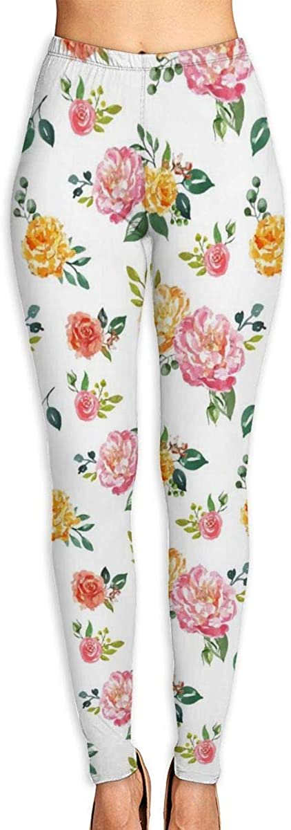 AUISS Yoga Pants for Women Womens Leggings Pink and Yellow Flowers Running Workout Over The Heel Long Trousers Sports Gym