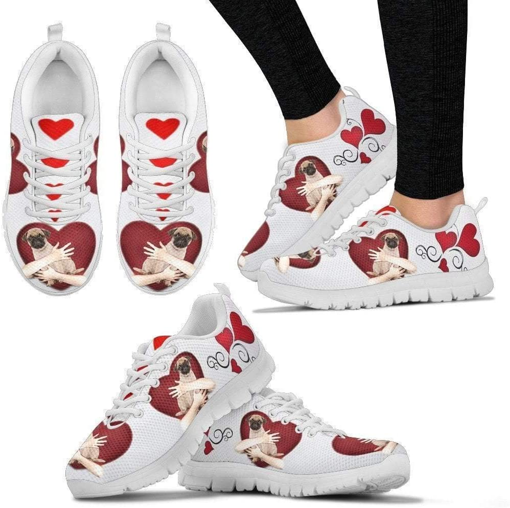 Paws With Attitude Valentine's Day Special-Pug in Heart Print Running Shoes for Women