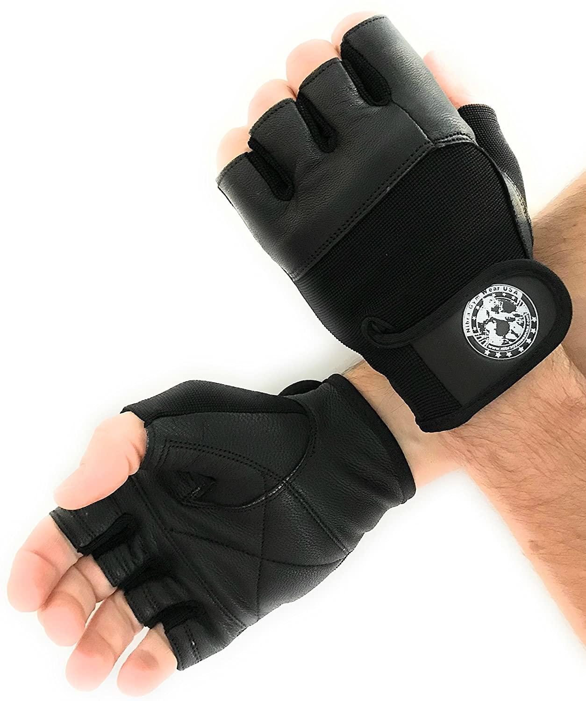Nibra Gym Wear USA Gym Gloves Black with Wrist Closure for Man & Women, Padded Workout Crossfit, Weightlifting,Biking.