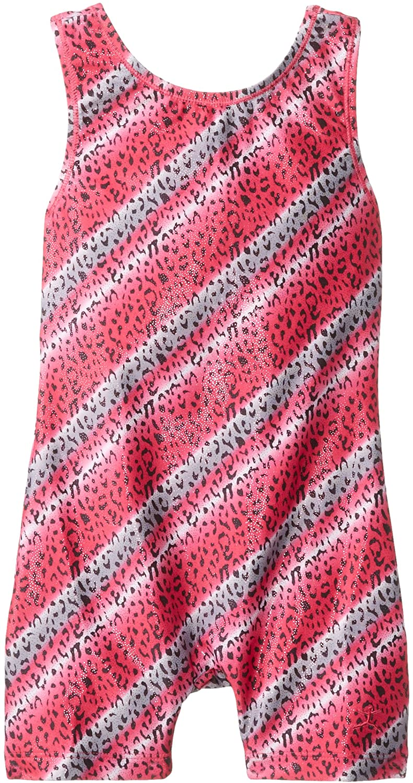 Danskin Little Girls' Gymnastics Shortall with Shimmery Leopard Print