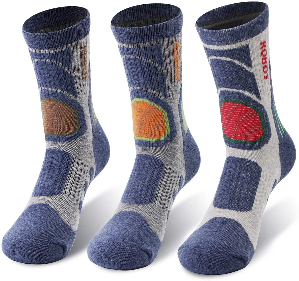 REDCAMP 3 Pairs Hiking Socks Mens for Outdoor Trekking Backpacking,Cotton