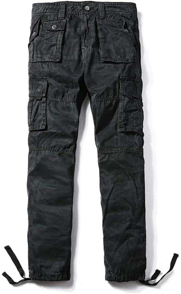 PUNKDBOTTO Men's Army Cargo Multi-Pockets Casual Pants Cotton Long Trousers Plus Size