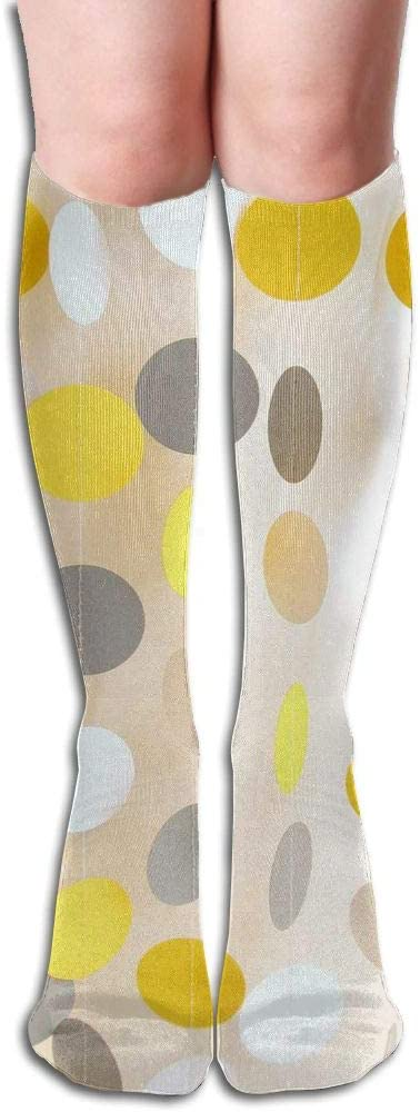 KLQ Yellow White Gray Dots Knee High Crew Socks Knee High Stockings for Indoor and Outdoor Sports