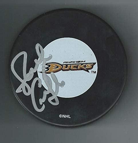 Autographed Randy Carlyle Hockey Puck - Anaheim Ducks - Autographed NHL Pucks