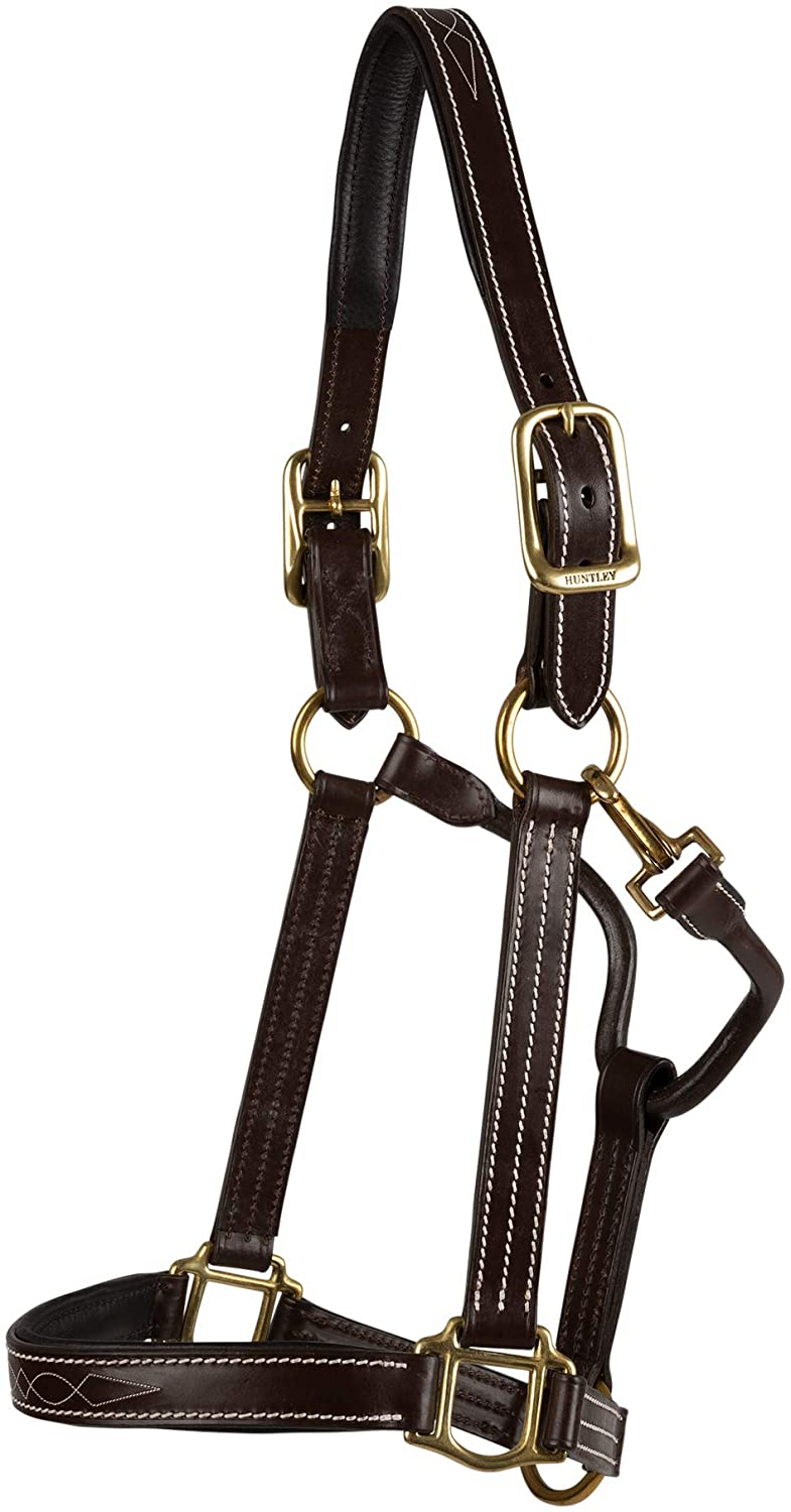 Huntley Equestrian Premium Leather Halter with Snap (Full, Fancy Stitched Padded)