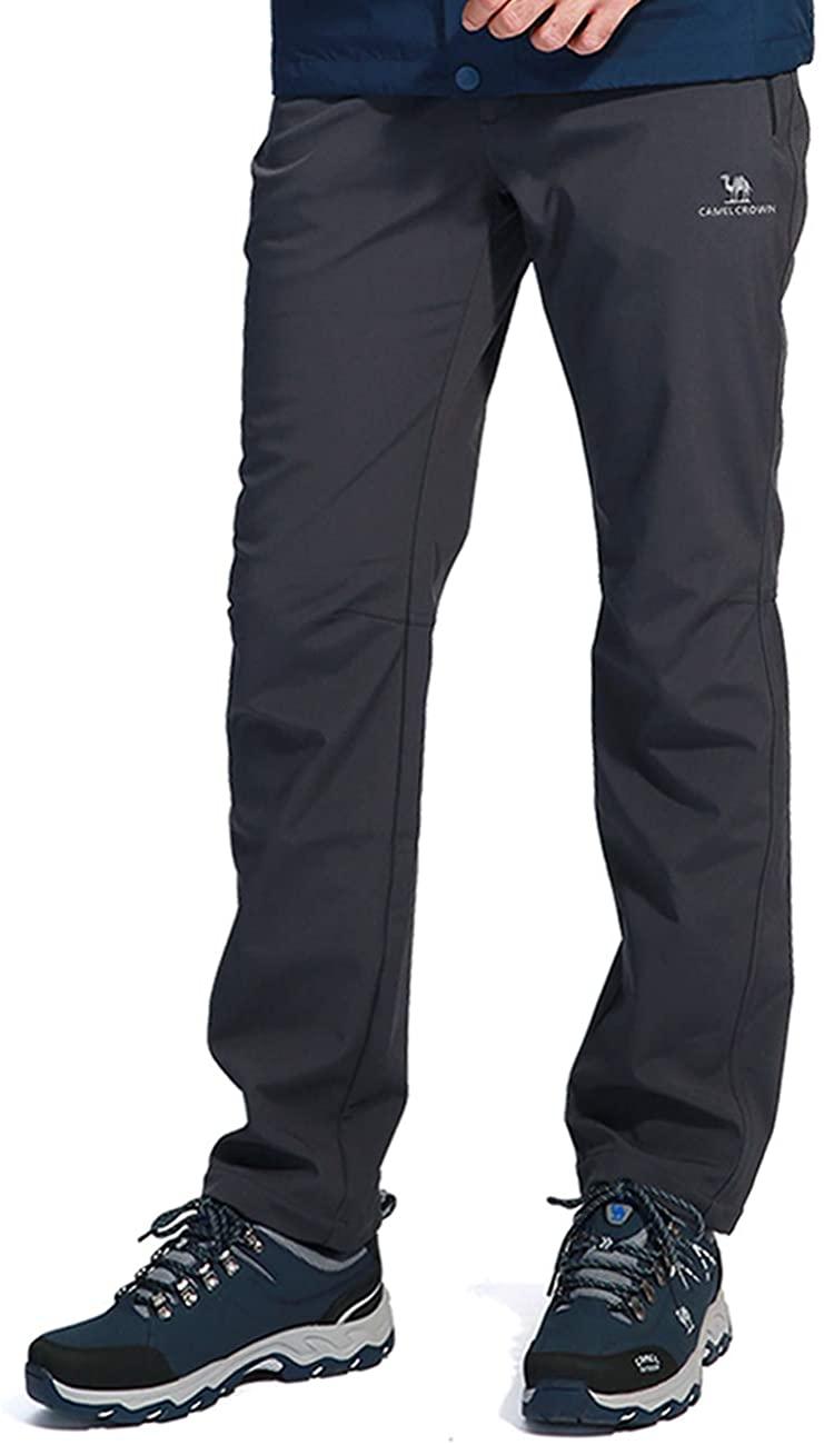 CAMEL CROWN Mens Snow Ski Fleece Pants Outdoor Waterproof Hiking Pants Softshell Pants