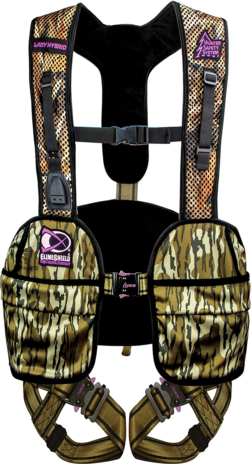 Hunter Safety System Lady Hybrid Treestand Safety Harness with ElimiShield Scent Control Technology, Mossy Oak