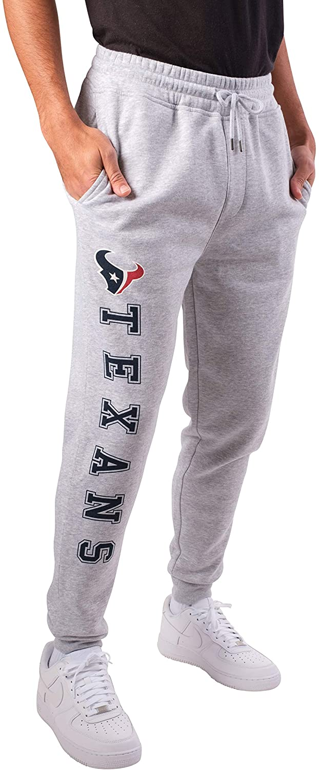 Ultra Game NFL Houston Texans Mens Active Jogger Sweatpants, Heather Gray 19, Small