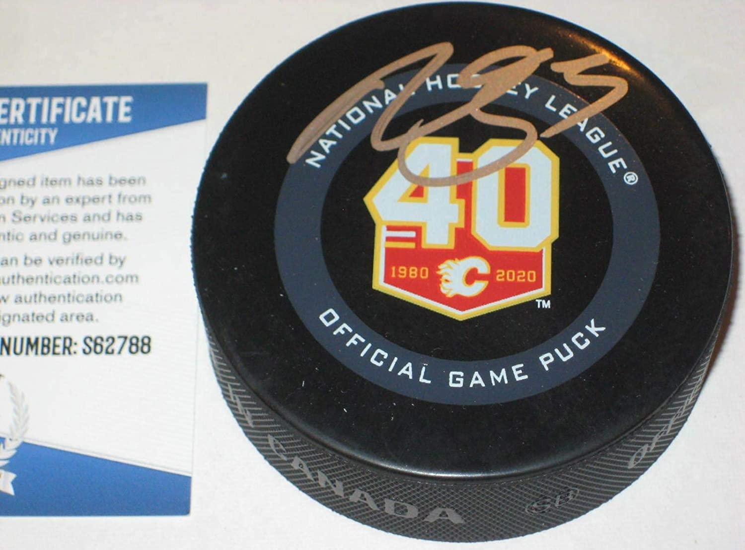 Mark Giordano Signed Puck - 40th ANN. Official w Beckett COA - Beckett Authentication - Autographed NHL Pucks