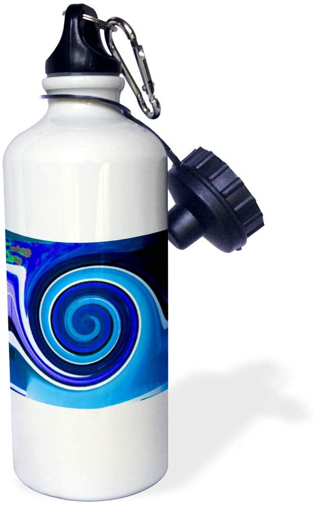 3dRose Jos Fauxtographee- Twirl - A Digital Twirl Made in Light and Dark Blue with Purple and White - 21 oz Sports Water Bottle (wb_318856_1)