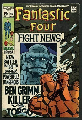 Stan Lee Autographed Signed Fantastic Four #92 Comic Book Ben Grimm Killer PSA/DNA