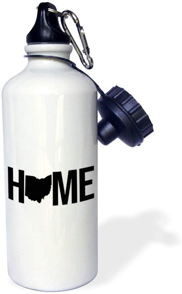 3dRose Stamp City - Typography - Home with Ohio State as The O. White Background. - 21 oz Sports Water Bottle (wb_324203_1)