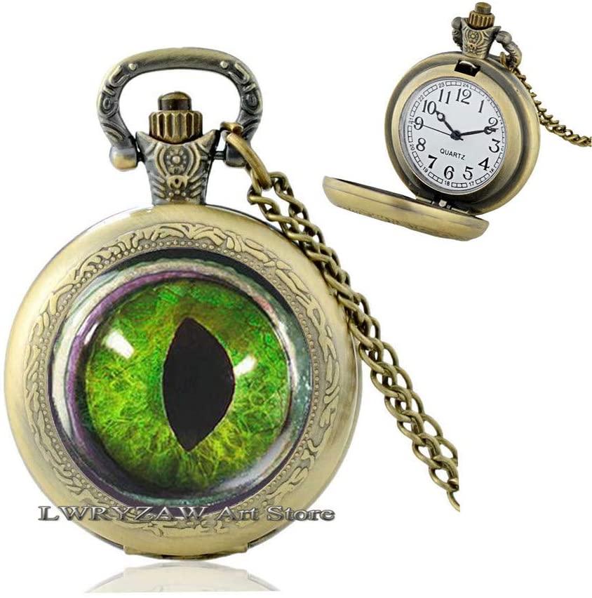 Dragon Eye Pocket Watch Necklace Cat Eye Pocket Watch Necklace Green Eye Eye Jewellery Dragon Jewelry Evil Eye Pendant Eye Pendant Magic Fantasy Dino Eye Pocket Watch Necklace,M217