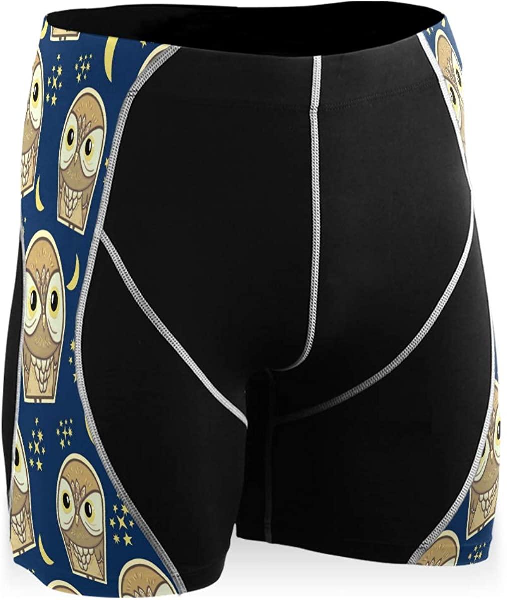 Owl Pattern Fashionable Textiles Stylish Mens Compression Shorts Running Yoga Cool Dry Baselayer Boys