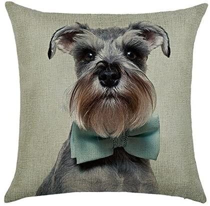 DECORLUTION Schnauzer with Bow Tie Pattern 18x18 Inch Cotton Linen Throw Cushion Cover Pillow Case for Home Decorative Breathable Square Pillow Covers Cases Standard Pillowcase