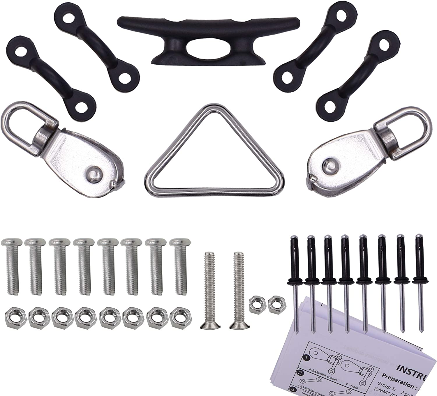YYST Kayak Canoe Anchor Trolley Kit System Pulley Cleat Pad Eye Ring Rivets - NO Ropes