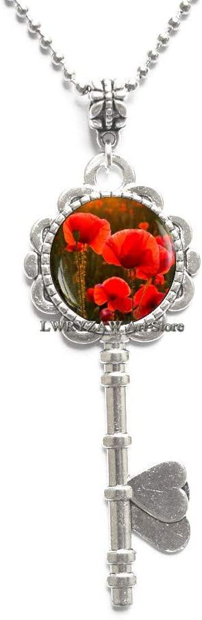 Red Poppy Pendant, red Poppy Key Necklace, Poppy Key Necklace, Red Flower Jewelry, Red Key Necklace, Red Poppies Pendant, Floral Key Necklace,M92