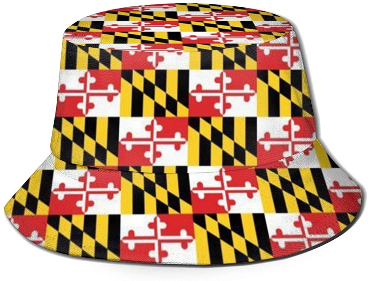 FEAIYEA Bucket Hat Maryland Flags Fishing Hats Bucket Sun Hats Breathable Fisherman Protection Safari Hats Unisex for Fishing Beach Hiking Safari Camping
