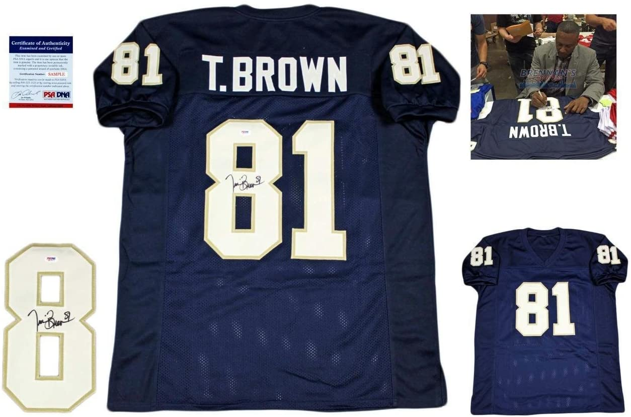 Autographed Tim Brown Jersey - w Photo Navy - PSA/DNA Certified - Autographed NFL Jerseys