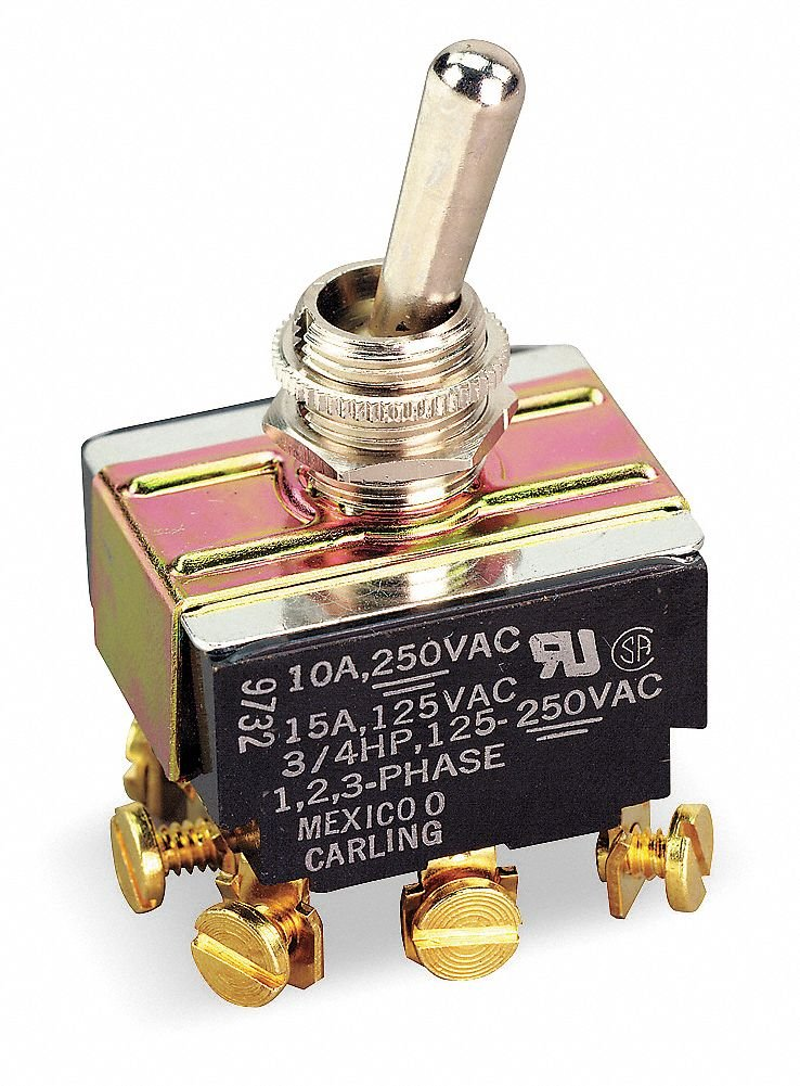 Carling Technologies Toggle Switch, Number of Connections: 9, Switch Function: On/Off/On