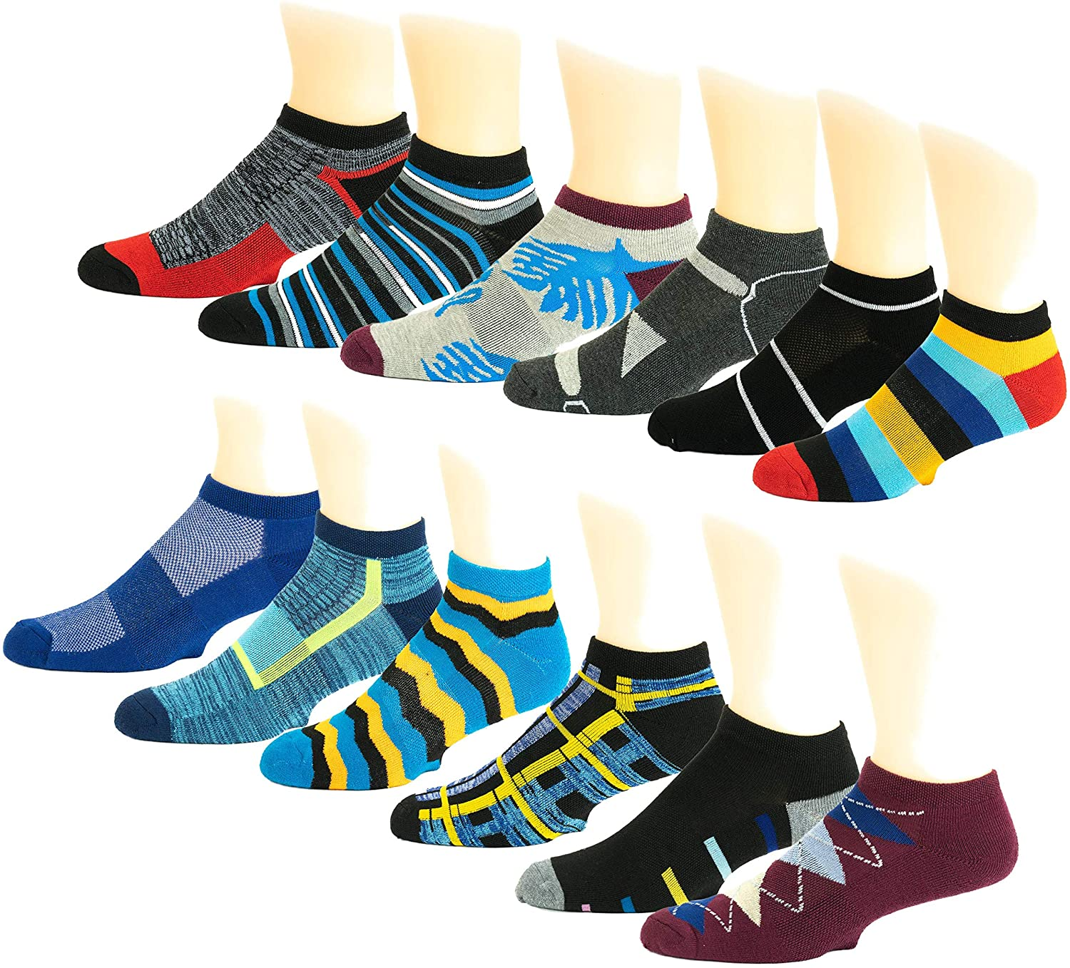 12 Pairs Mens Low Cut Sports Running Athletic Performance Socks
