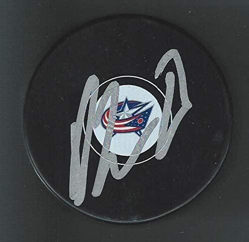 Oliver Bjorkstrand Signed Columbus Blue Jackets Puck - Autographed NHL Pucks