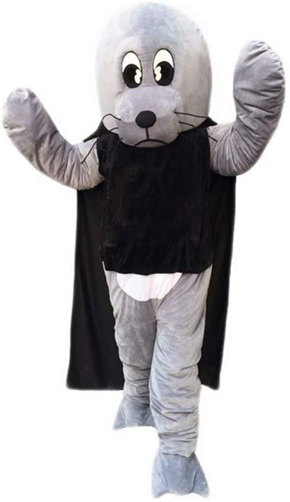 Sea Lion Cartoon Costume Mascot Plush with Mask for Adult Cosplay Party Halloween Dress Up