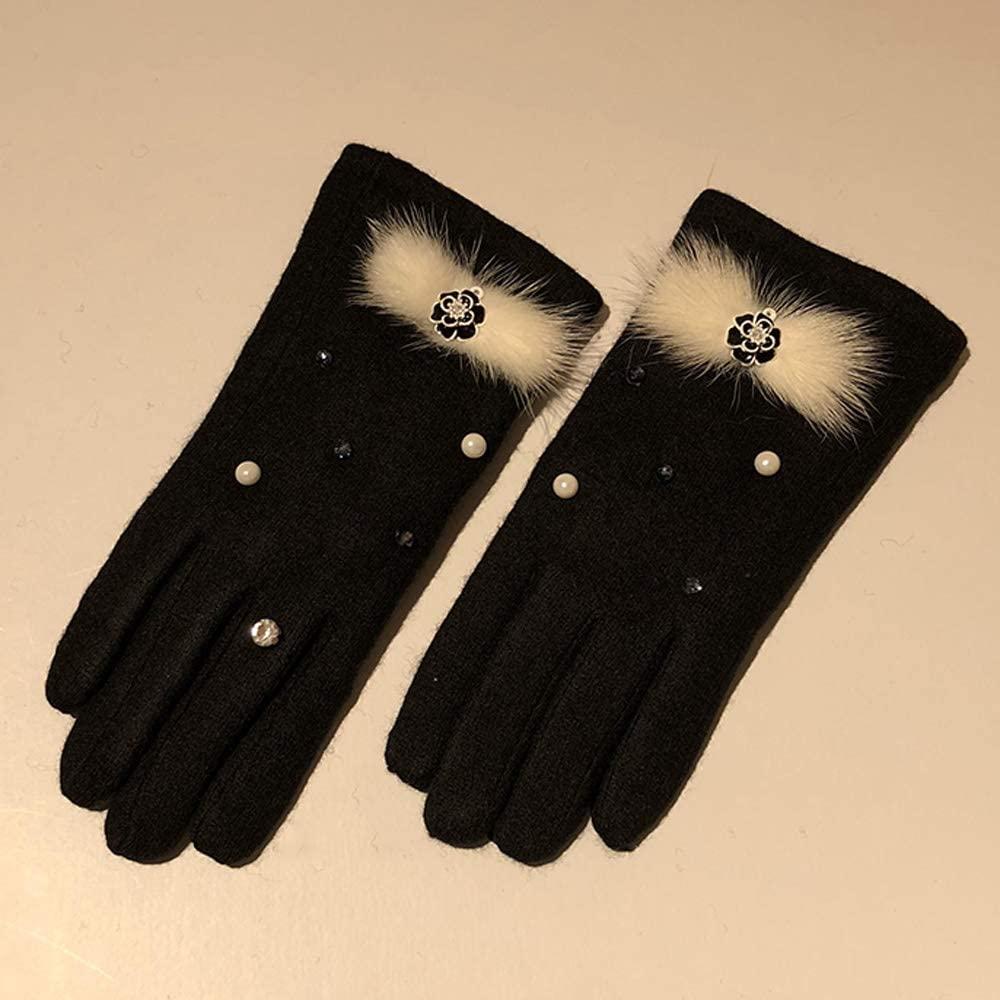 Uoyov Mink Fur Gloves Modern Minimalist Fashion Women's Winter Warm Korean Version of The Wild Japanese Touch Screen Wool Cashmere Gloves Plus Velvet Thick Warm Elastic Gloves Riding Outdoor Driving