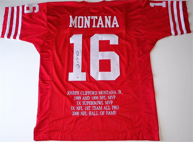 Joe Montana Signed Jersey - Career Awards Custom Embroidered Coa V28787 - PSA/DNA Certified - Autographed NFL Jerseys