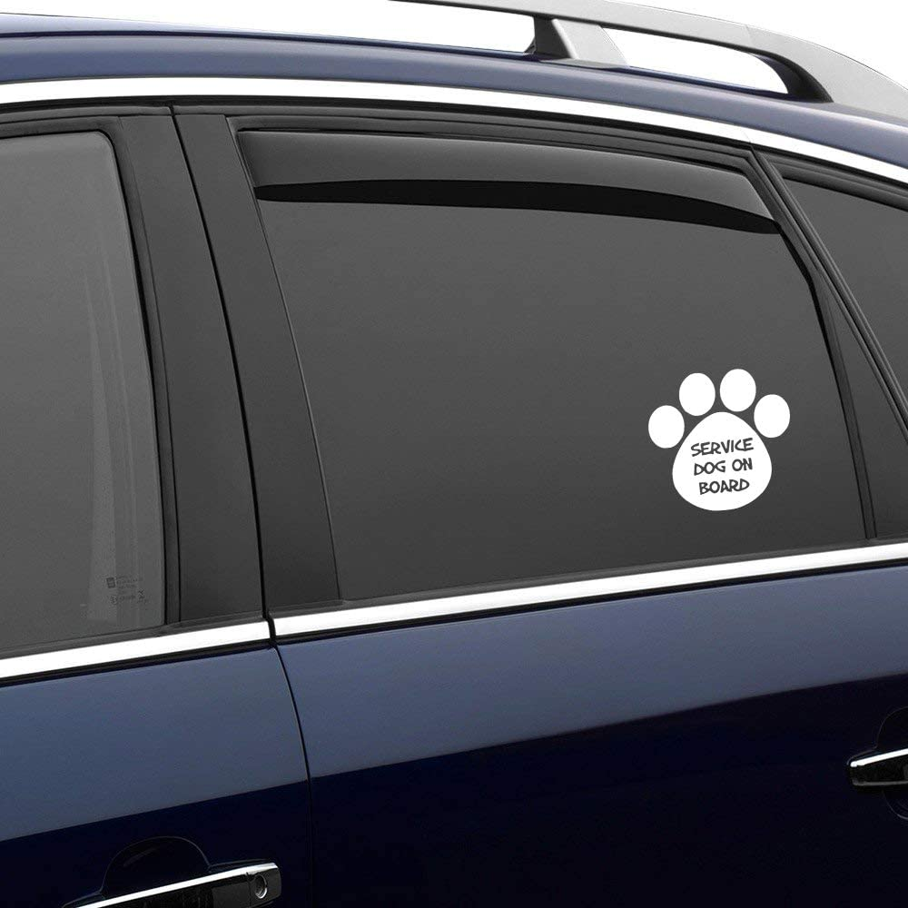 N/ A Service Dog On Board Pawprint Vinyl Sticker Graphic Bumper Tumbler Decal for Vehicles Car Truck Windows Laptop MacBook Phone Wall Door