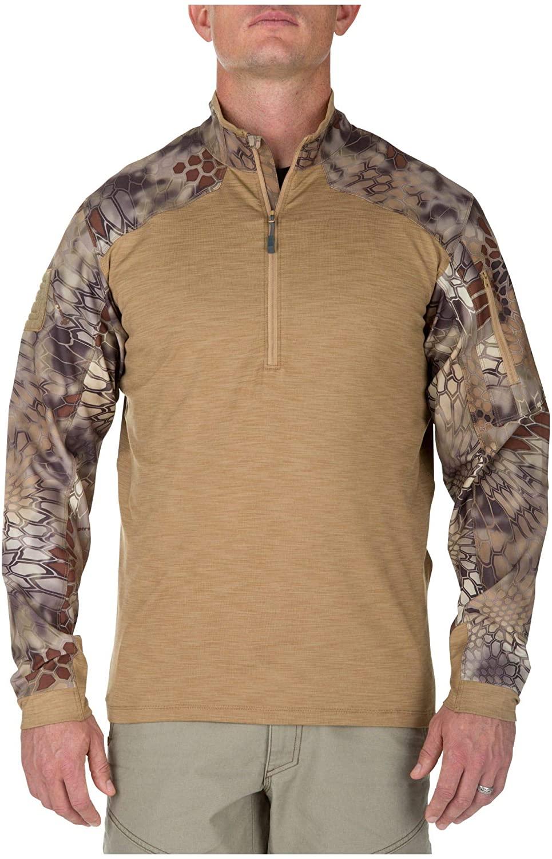 5.11 Men's Rapid Half Zip Sweatshirt, Small, Coyote