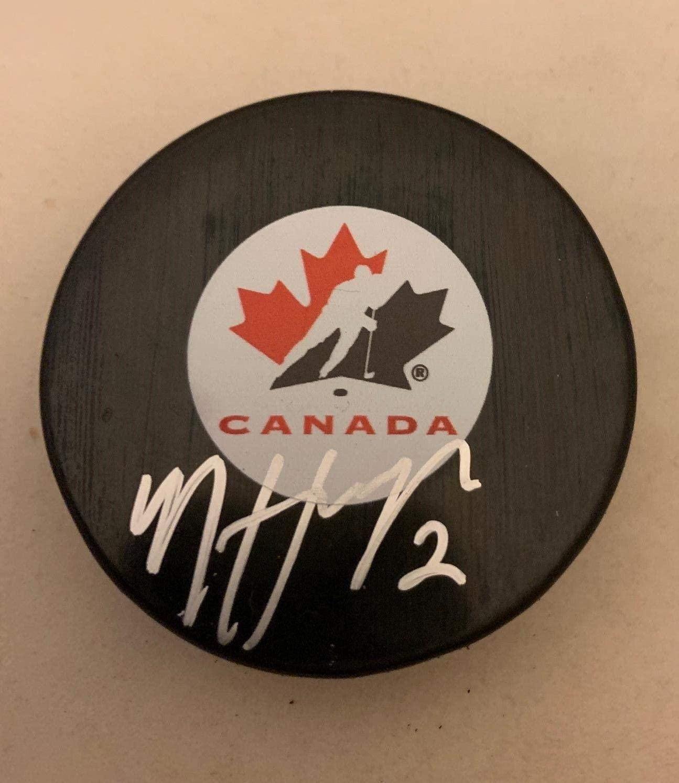 Nicolas Hague Signed Puck - Las Team Canada - Autographed NHL Pucks