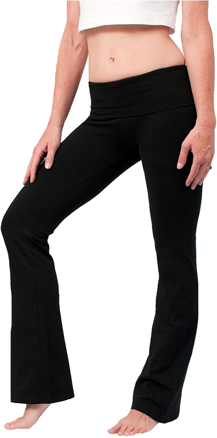 Hard Tail Foldover Bootcut Yoga Pants - Black