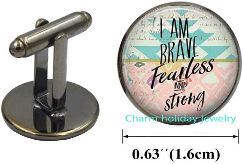 Charm holiday jewelry Inspirational Cufflinks-I am Brave.-Cufflinks,Gift for Friend,Inspirational Gift,Quote Cufflinks-#244