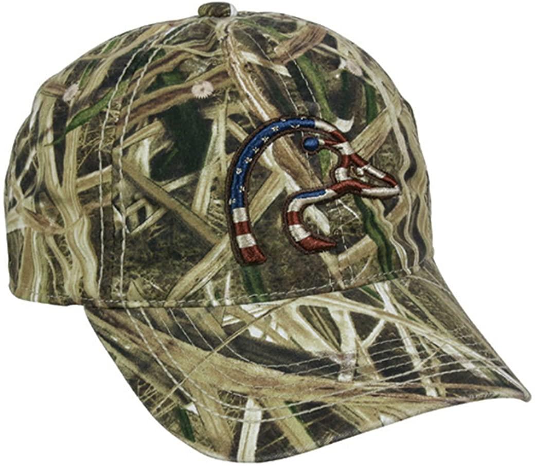 Ducks Unlimited Mossy Oak Shadow Grass Blades Patriotic American Flag Hat