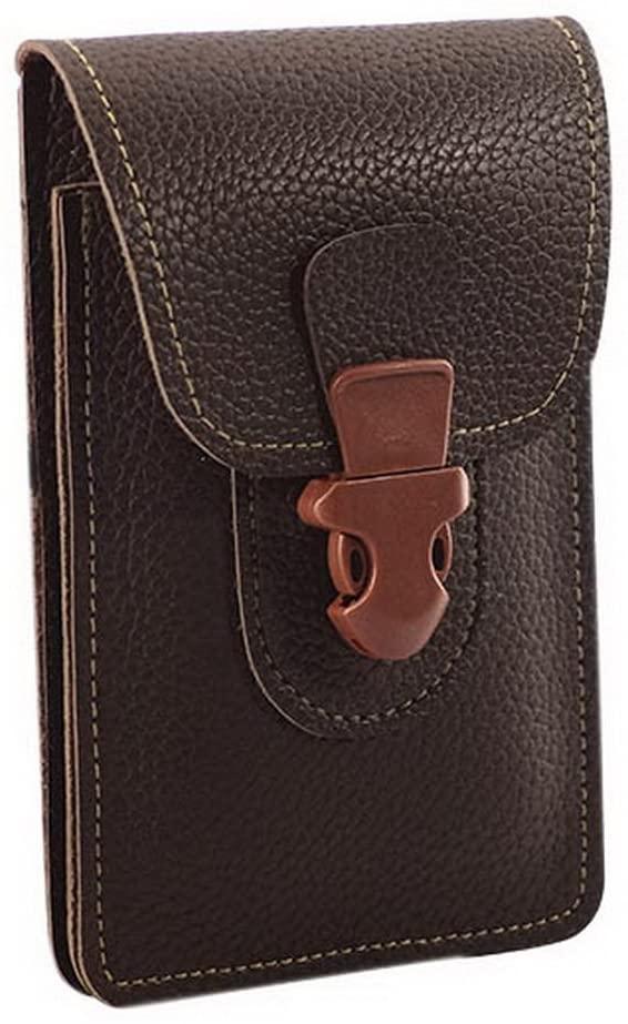 Gentle Meow Men's Outdoor Cell Phone Waist Bag PU Leather Smartphone Belt Pocket, Dark Brown