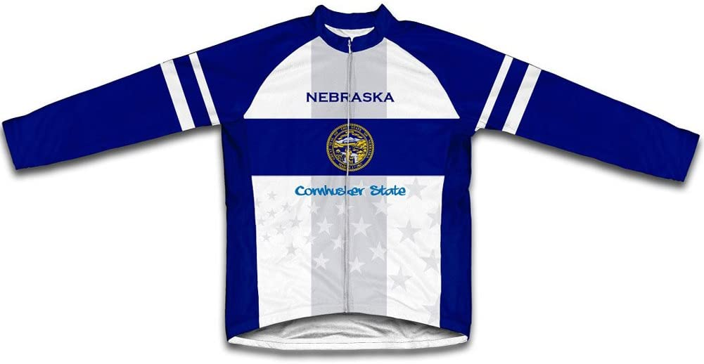 ScudoPro Nebraska Flag Winter Thermal Cycling Jersey for Men